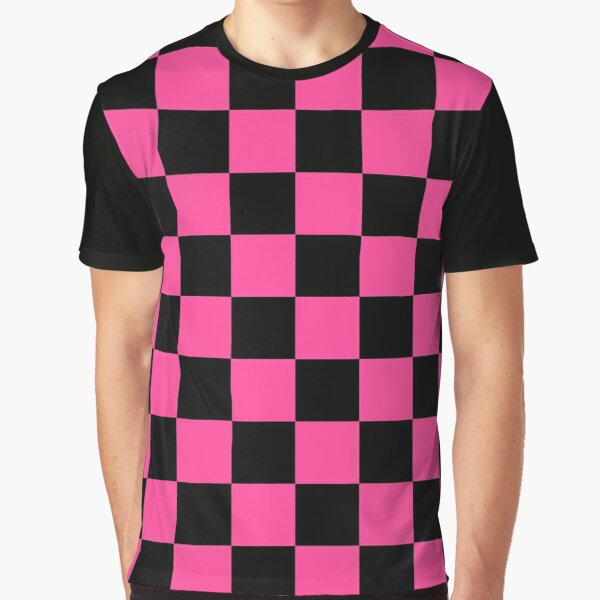 Black and Pink Checkerboard Pattern Graphic T-Shirt