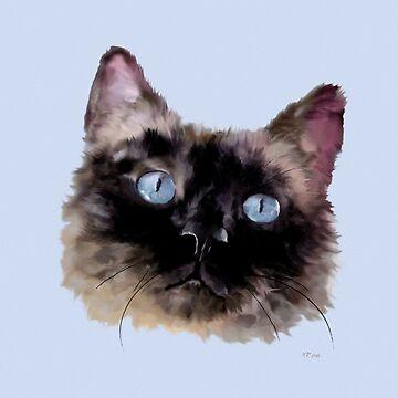 Jasper - Black Blue-Eyed Siamese Seal Point Cat by bamalam-art