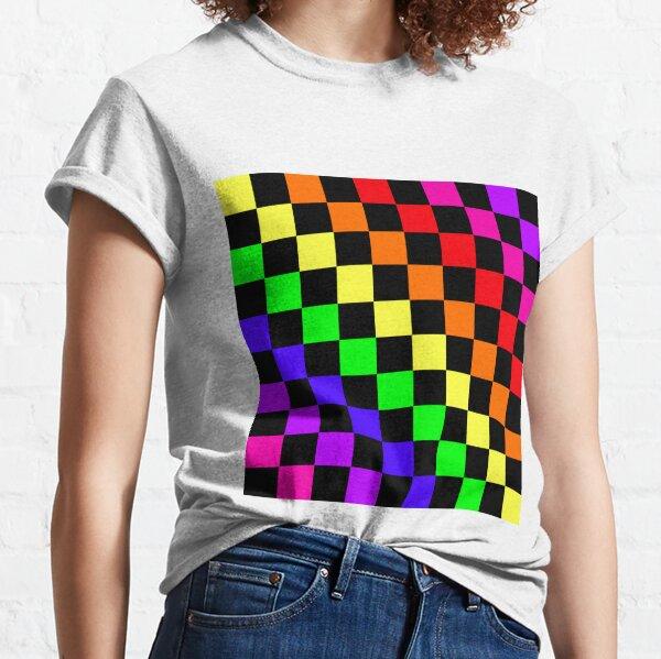 Black Rainbow Checkerboard Pattern Classic T-Shirt