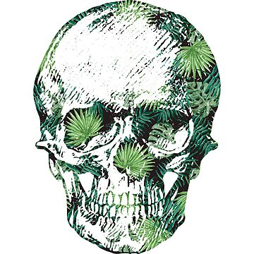 Tropical Skull - Cool Fern Skull Stickers, Phone Cases, and More by itswillharris