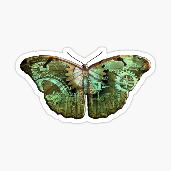 Steampunk Butterfly - Green Sticker