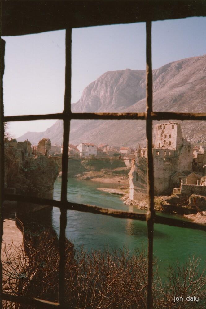 Rope Bridge Mostar by jon  daly