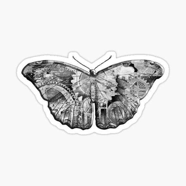Steampunk Butterfly - Black and White Sticker