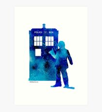 The 4th Doctor with the TARDIS Art Print