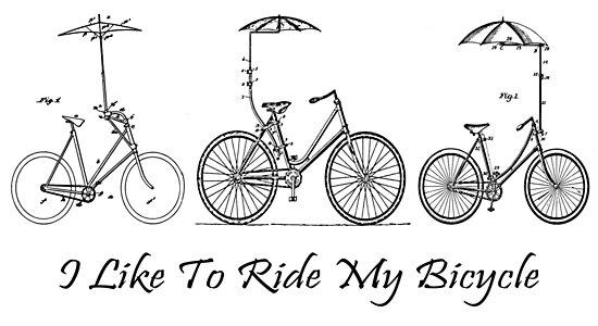 I like to ride my bicycle with umbrella vintage patent blueprint art i like to ride my bicycle with umbrella vintage patent blueprint art by madebydesign malvernweather Image collections