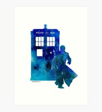 The 10th Doctor with the TARDIS Art Print