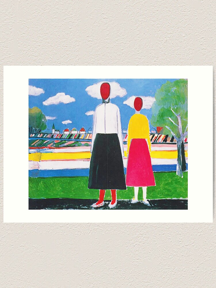 Hd Two Figures In A Landscape By Kazimir Severinovich Malevich 1932 High Definition Art Print By Mindthecherry Redbubble