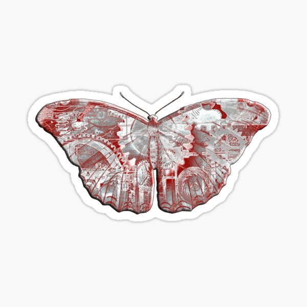 Steampunk Butterfly - Silver and Scarlet Sticker