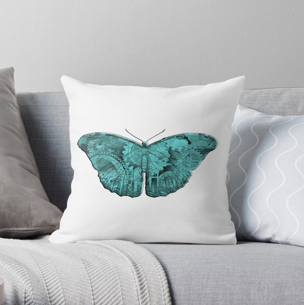 Steampunk Butterfly - Turquoise Throw Pillow