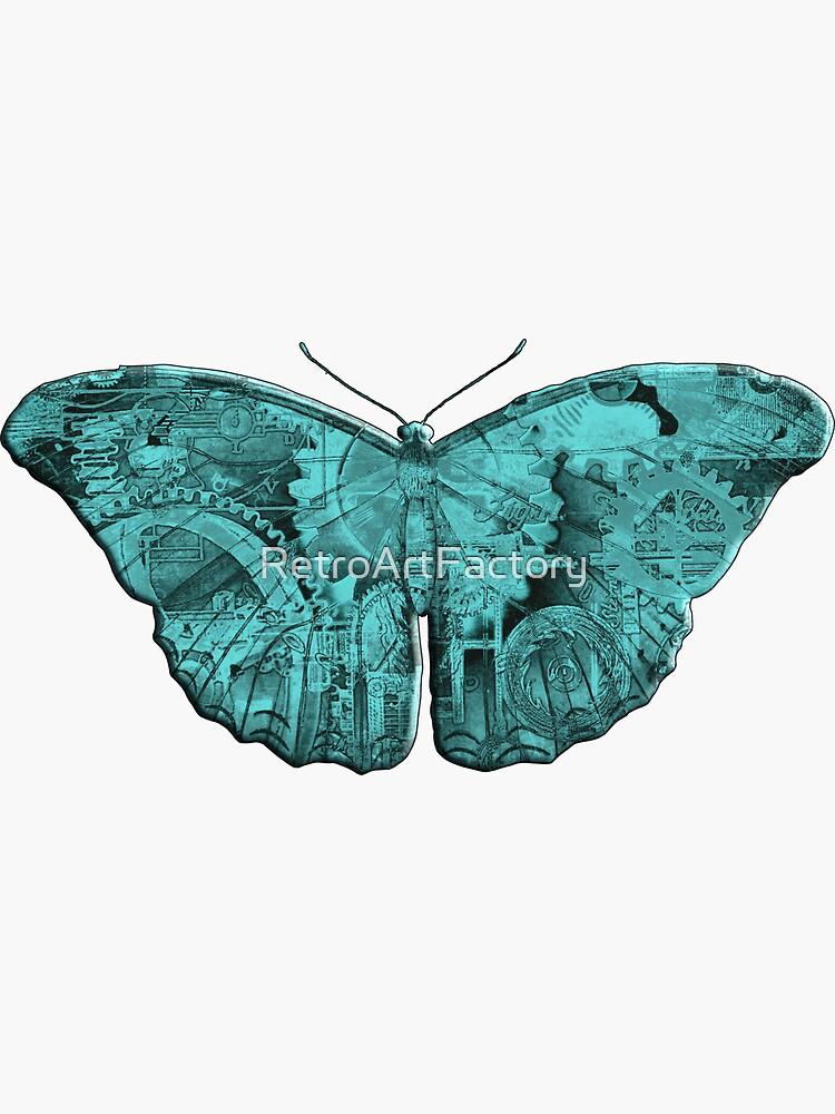 Steampunk Butterfly - Turquoise by RetroArtFactory