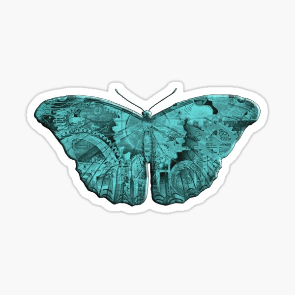Steampunk Butterfly - Turquoise Sticker