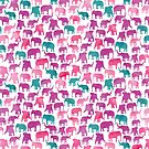 Pretty Watercolor Elephant Silhouette Herd Pattern by SamAnnDesigns