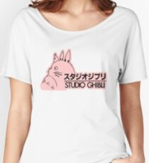 Pink Studio Ghibli Logo Women's Relaxed Fit T-Shirt