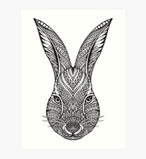 Zentangle Rabbit Design Art Print