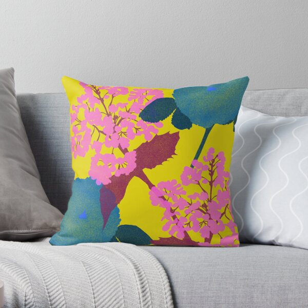 Portland Flora and Fauna in Canary Yellow, Teal, Pink & Burgundy by Jessica Poundstone Throw Pillow