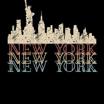 New York Skyline Vintage Retro Travel Shirt by SABRA11