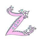 Letter Z hearts and flower lettering art by Sarah Trett