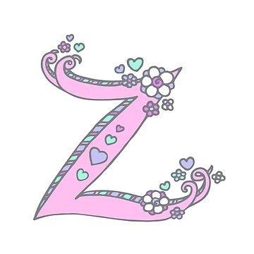 Letter Z hearts and flower lettering art by sarahtrett