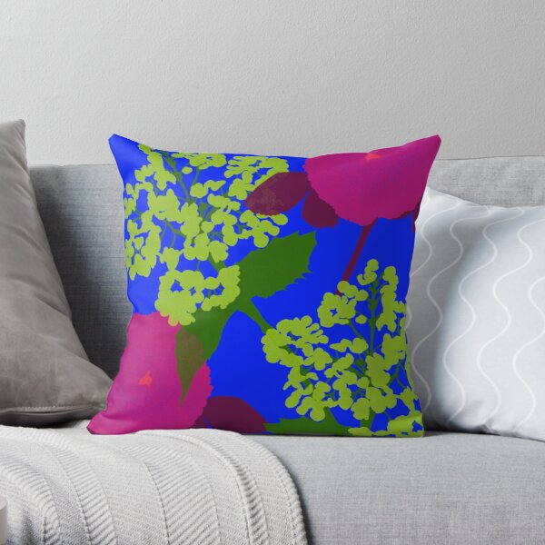 Portland Flora and Fauna in Cerulean, Burgundy and Spring Green by Jessica Poundstone Throw Pillow