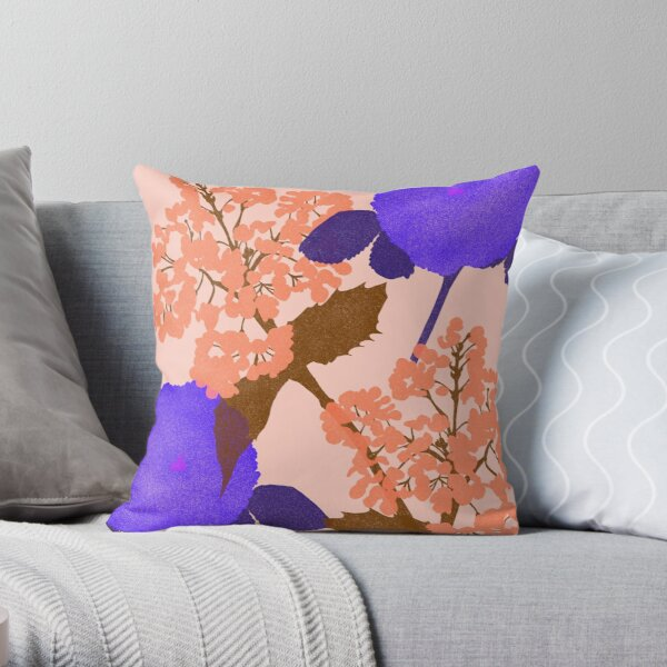 Portland Flora and Fauna in Blush Pink, Peach & Ultraviolet by Jessica Poundstone Throw Pillow