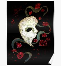 Phantom of the Opera Mask and Roses Poster