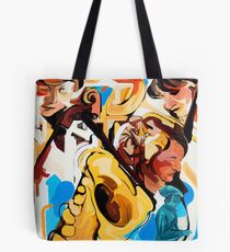Playing Saxophone and Cello Abstract Expressive Painting Tote Bag