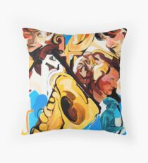 Playing Saxophone and Cello Abstract Expressive Painting Throw Pillow