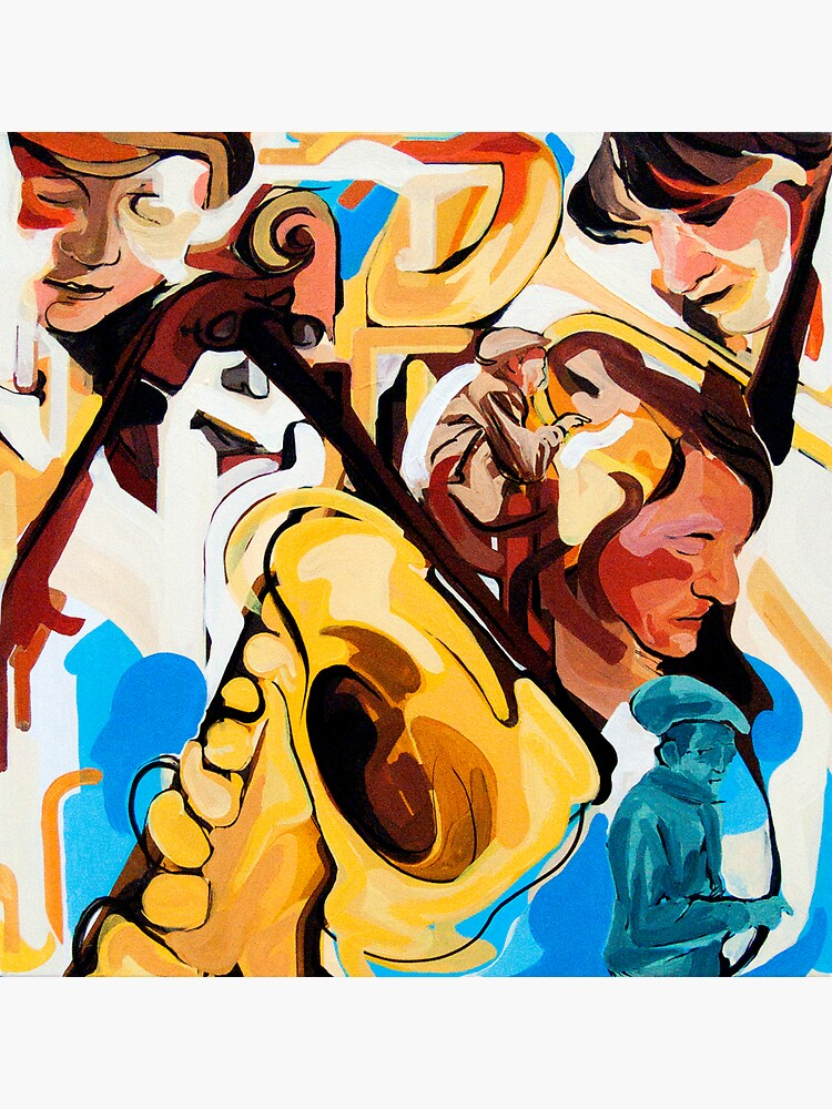 Playing Saxophone and Cello Abstract Expressive Painting by CatarinaGarcia