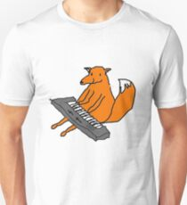 Happy little fox playing his keyboard Unisex T-Shirt