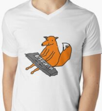 Happy little fox playing his keyboard Men's V-Neck T-Shirt