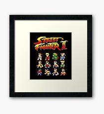 Street Fighter 2 Characters Pixel Art Framed Print