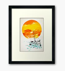 Fishboat / Colorful watercolor illustration Framed Print
