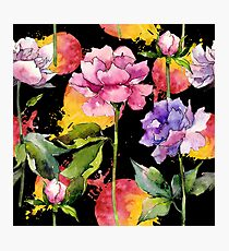 Colorful Peony Flowers Watercolor Peonies Pattern Photographic Print