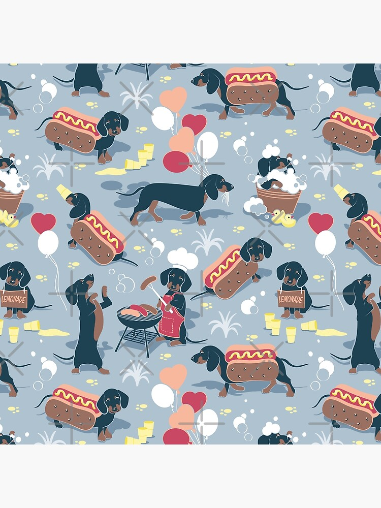 Hot dogs and lemonade // pastel blue background navy and brown dachshunds  by SelmaCardoso
