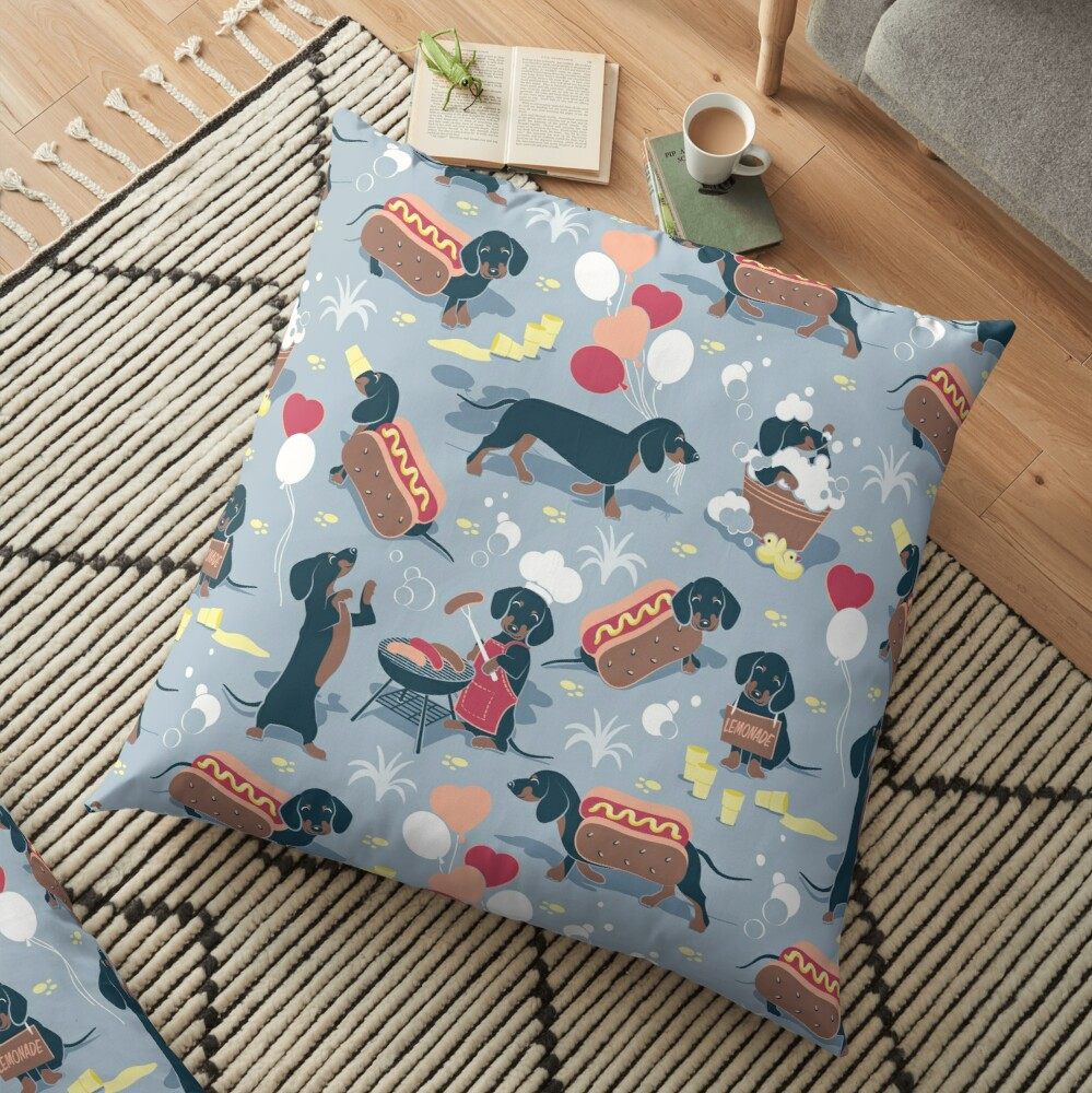 Hot dogs and lemonade // pastel blue background navy and brown dachshunds  Floor Pillow
