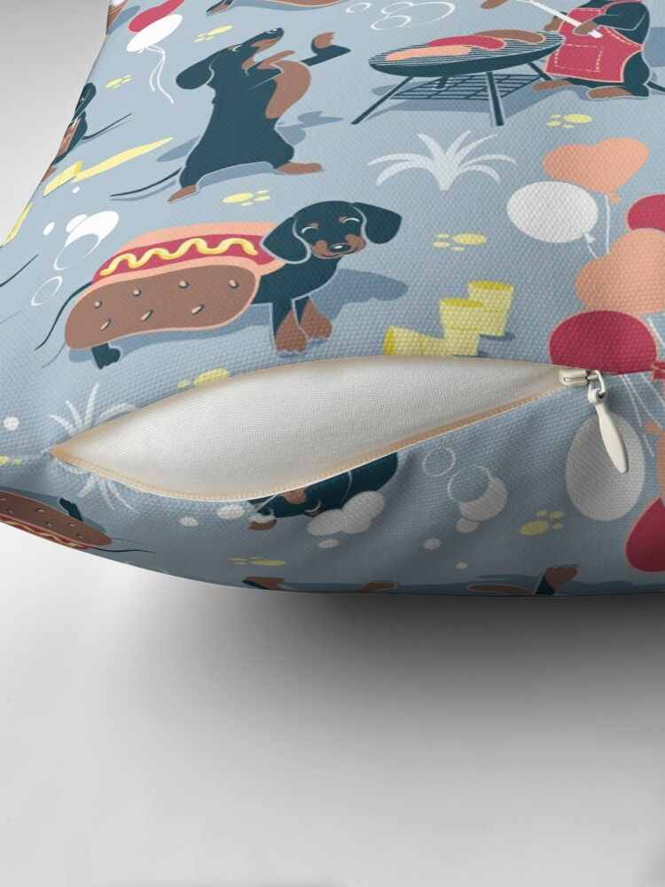 Alternate view of Hot dogs and lemonade // pastel blue background navy and brown dachshunds  Floor Pillow