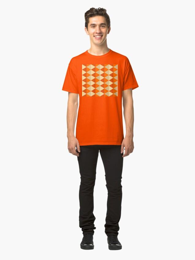 Alternate view of Geometric Pattern: Split Diamond: Orange Classic T-Shirt