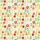 Watercolour Apples and Pears Pattern by Cathryn Worrell