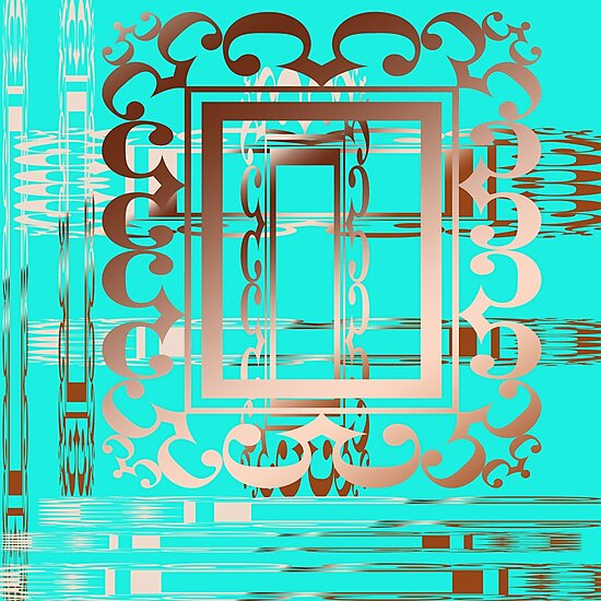 Turquoise and Copper Abstract Digital Art By Aimee L Maher by AimeeLMaher