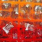 Abstract Acrylic Artist Painting Tribal Orange and Black Wild Art by Shelly Still