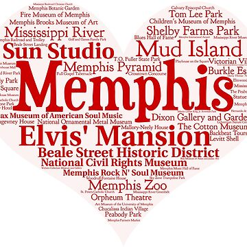 Heart of Memphis Red Heart Word Cloud Products by Mel747