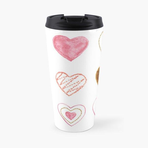 Pink and Gold Hearts Doodle Art Travel Mug