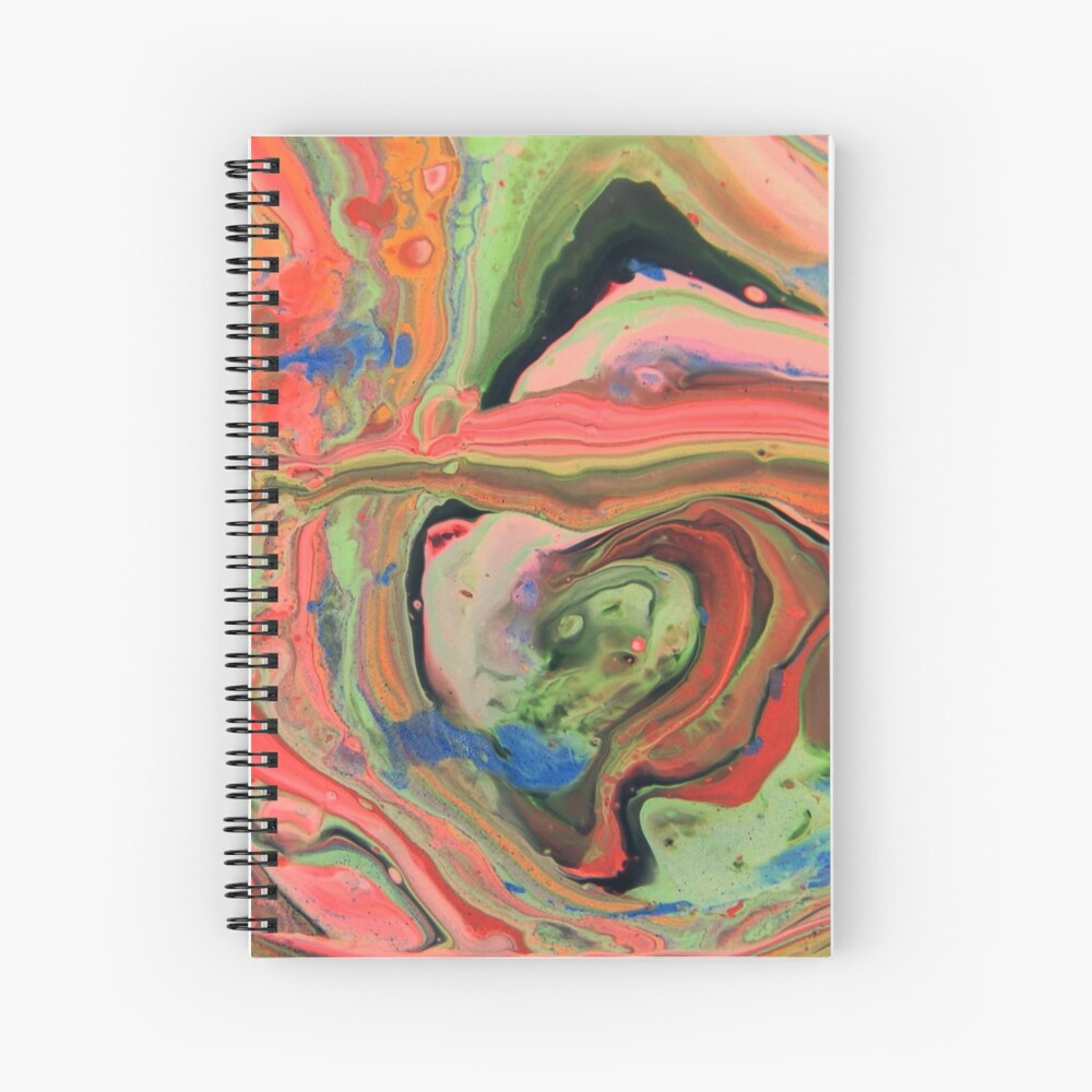 Fluid Nature - Tropical Maze - Abstract Acrylic Art Pour Spiral Notebook