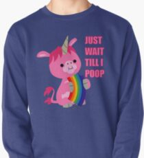 Just Wait Till I Poop (unicorn eating a rainbow) by Cheerful Madness!! Pullover