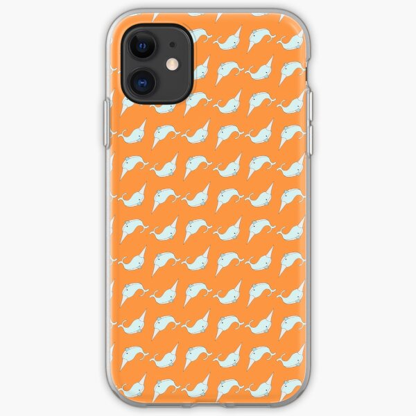 Narwhals in Bright Orange iPhone Soft Case