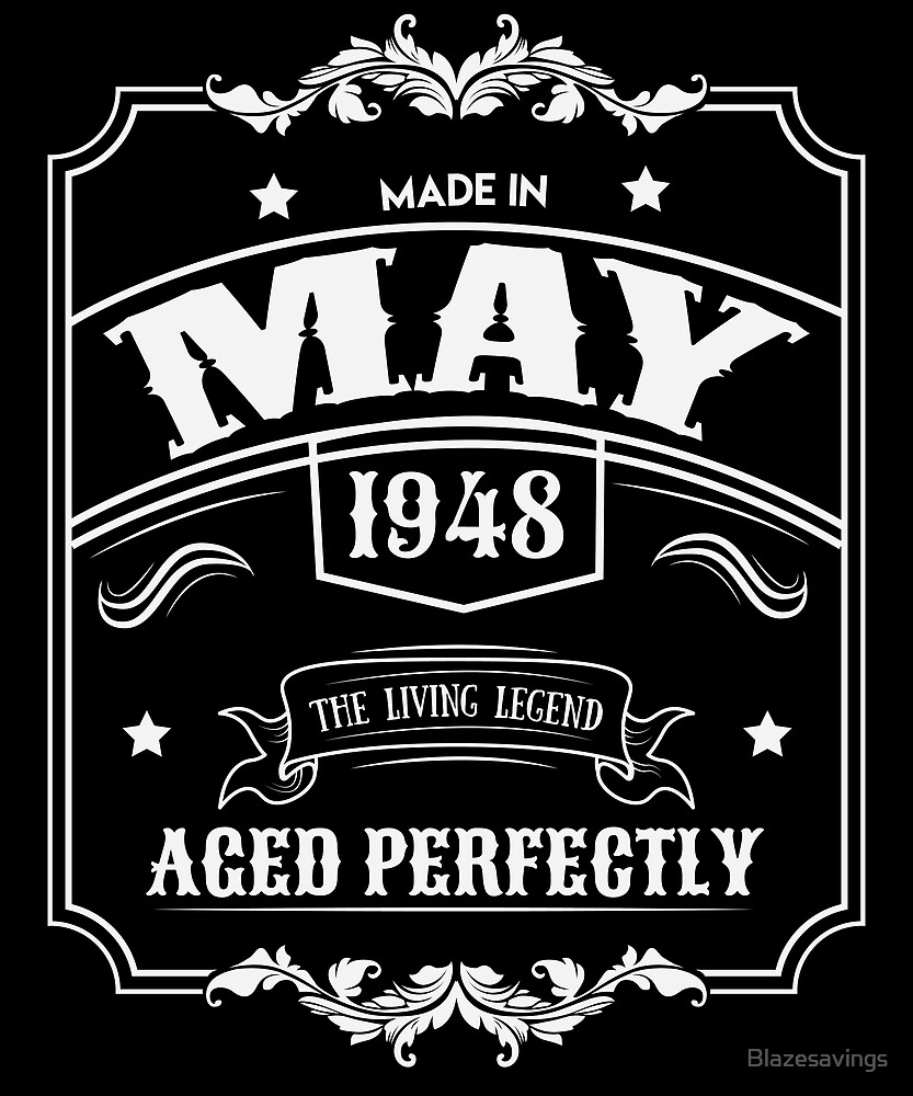 70th Birthday Gift Born In May 1948 Perfect Bday Present By