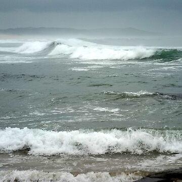 Moody Waves and Sky at Kidds Beach by TerryArts