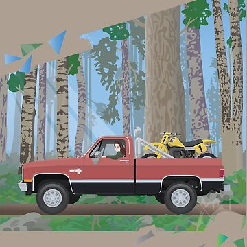 Chevy Silverado in a forest by BurrowsImages
