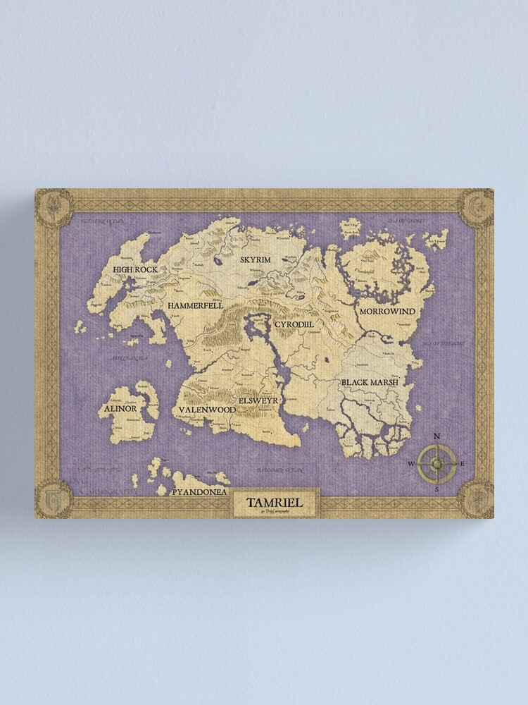 Elder Scrolls map - Tamriel | Canvas Print on skyrim hermaeus mora, nirn complete map, skyrim all locations discovered, zelda cloth map, skyrim changing character, dark souls cloth map, elder scrolls online cloth map, skyrim ancient shrouded armor, skyrim elder scroll dragon location, skyrim cloth items, elder scrolls full map, skyrim game, skyrim how do i change in bedroom, skyrim cloth armor,