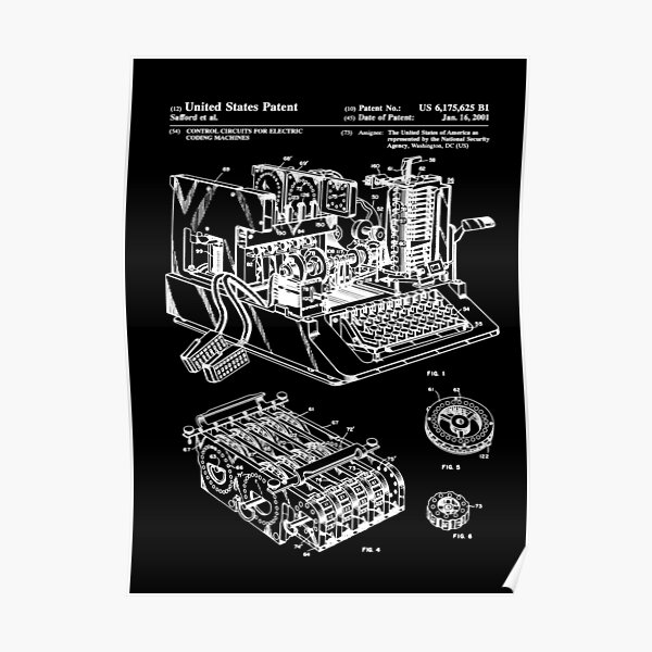 Enigma Machine Patent White Poster